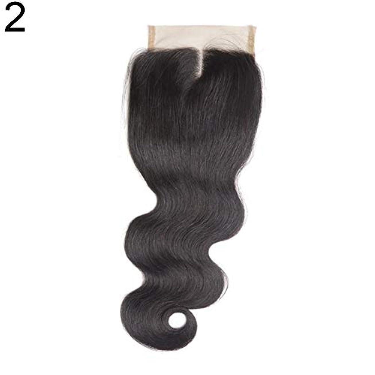 くさび作詞家効果的slQinjiansav女性ウィッグ修理ツールブラジルのミドル/フリー/3部人間の髪のレース閉鎖ウィッグ黒ヘアピース