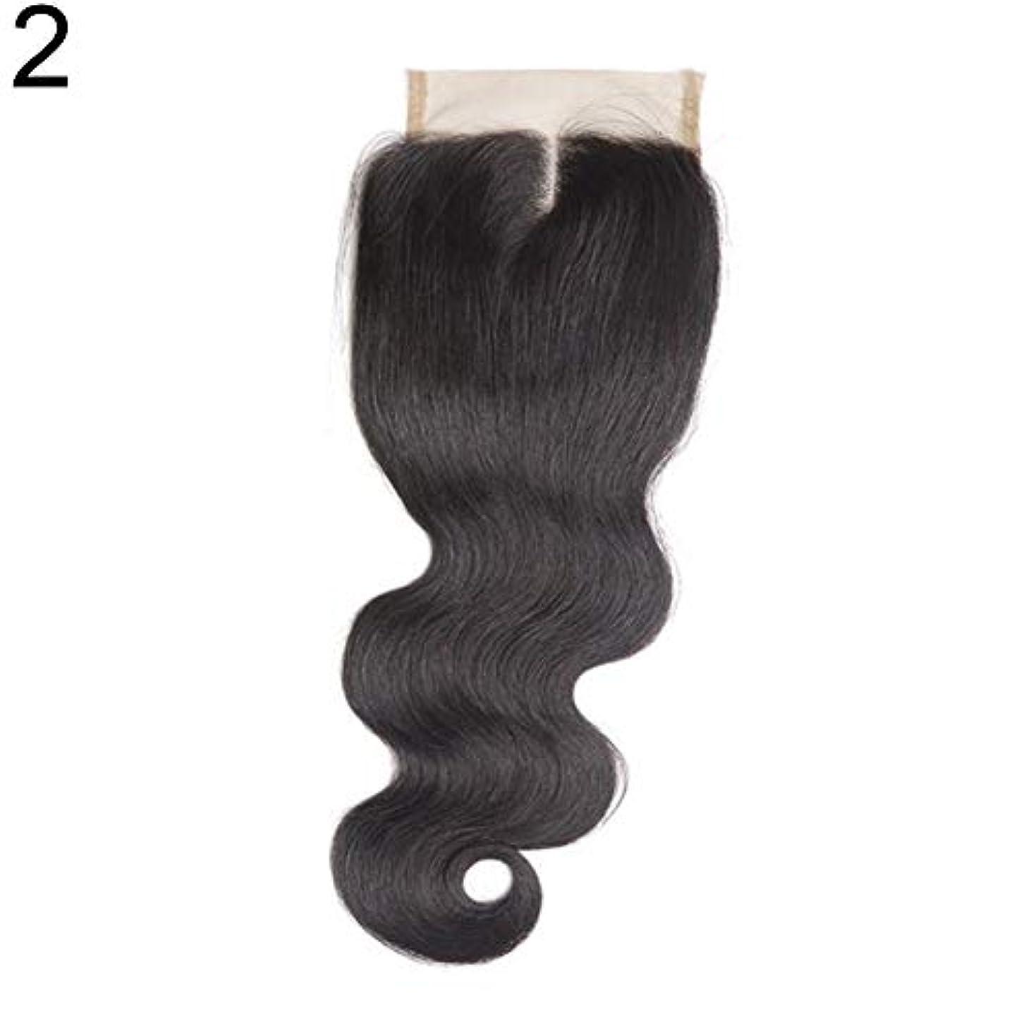 怖い取り消す申し立てられたslQinjiansav女性ウィッグ修理ツールブラジルのミドル/フリー/3部人間の髪のレース閉鎖ウィッグ黒ヘアピース