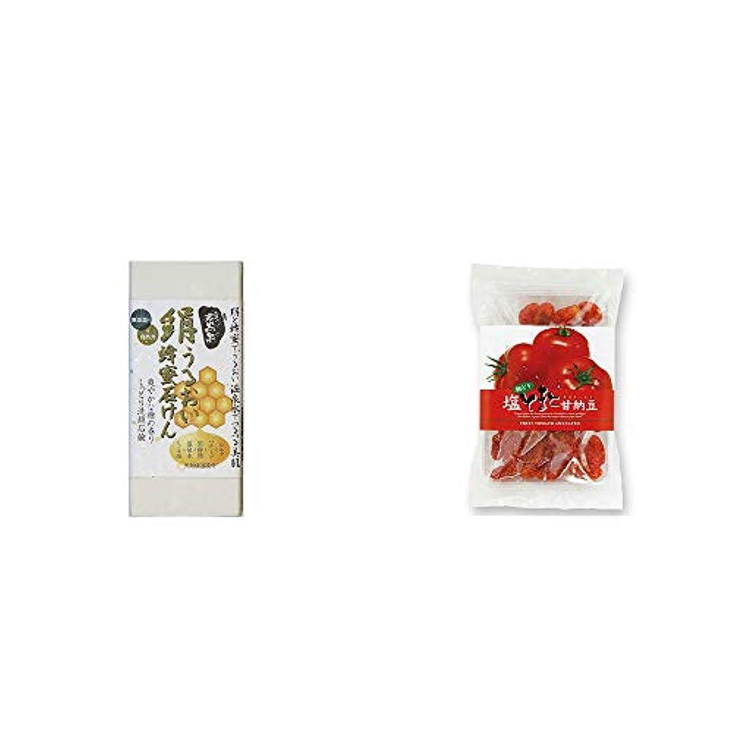 誕生ソーダ水お祝い[2点セット] ひのき炭黒泉 絹うるおい蜂蜜石けん(75g×2)?朝どり 塩とまと甘納豆(150g)