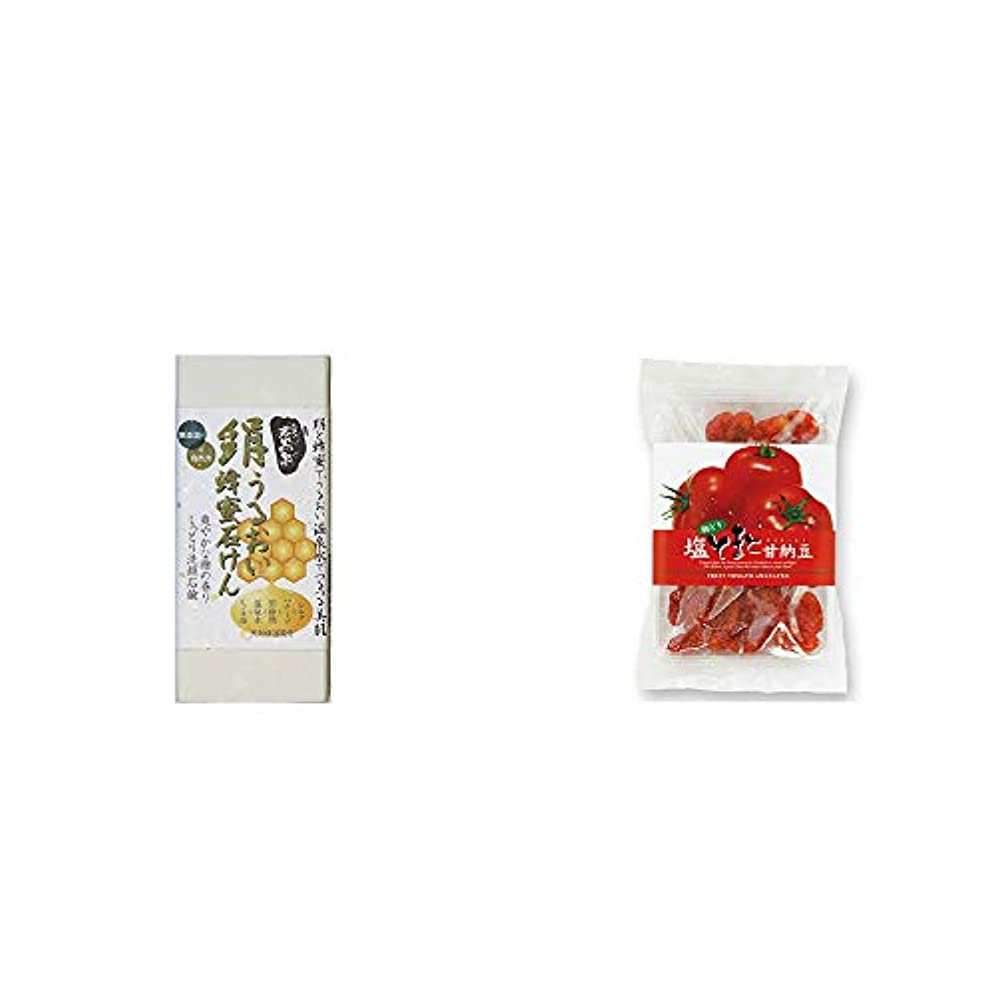 夕暮れけがをする教義[2点セット] ひのき炭黒泉 絹うるおい蜂蜜石けん(75g×2)?朝どり 塩とまと甘納豆(150g)