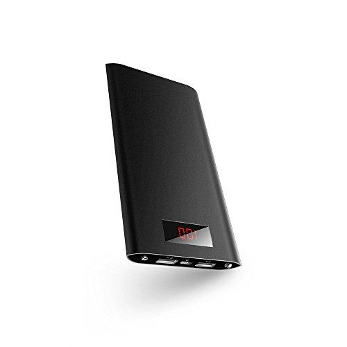 iPhone6を6回チャージします,Karakao 超薄 Power Bank 10000mAh モバイルバッテリー パナソニックセル搭載 iPhone / iPad / Xperia / 新しいMacBook / Android各種他対応 コンパクトサイズ (ブラック)