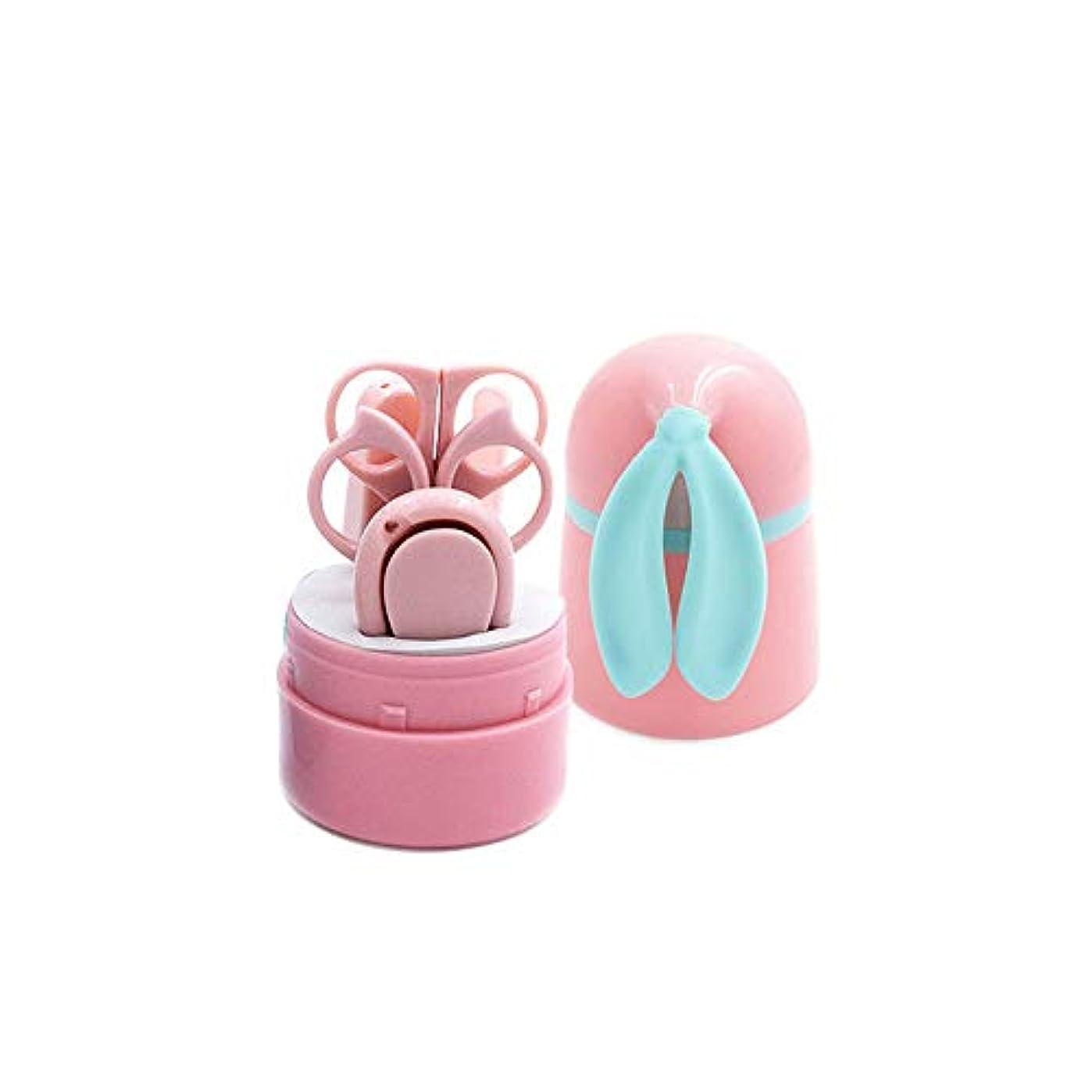 チェリーメタルライン批判的にベビーネイルクリッパー かわいいバニーの耳はネイルケアマニキュアセット、ピンク、5点セット