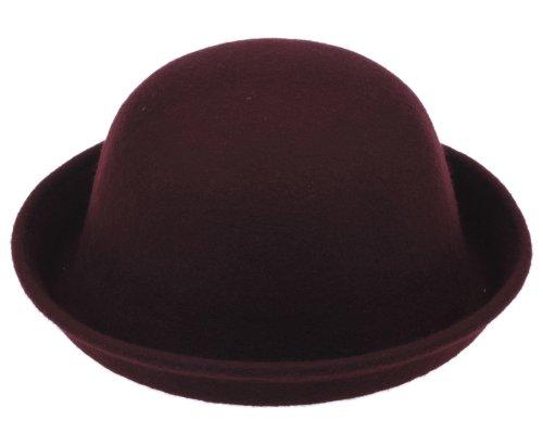 Yuelian(TM) ボーラーハット メンズ レディ―ス フェルト帽子 ウールハット 丸形 帽子 ダークボルドー