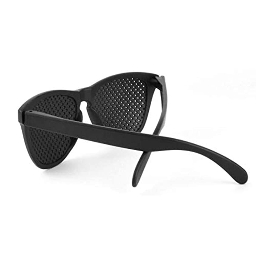 十一チャームかけるピンホールメガネ、視力矯正メガネ網状視力保護メガネ耐疲労性メガネ近視の防止メガネの改善