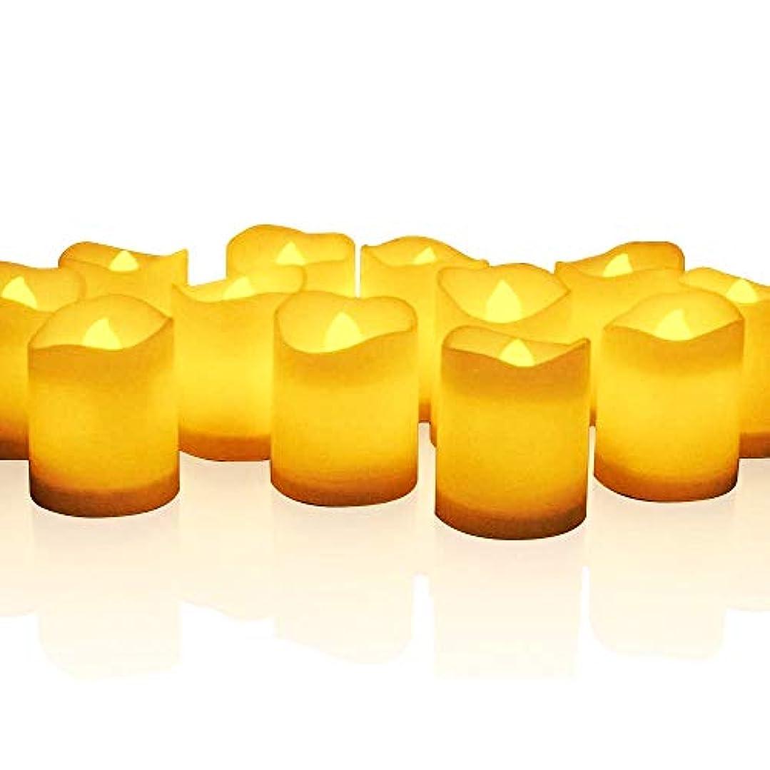 アテンダントリネン砂のmidafon 24個ちらつきTealight Candles電池式Lasts Over 100時間