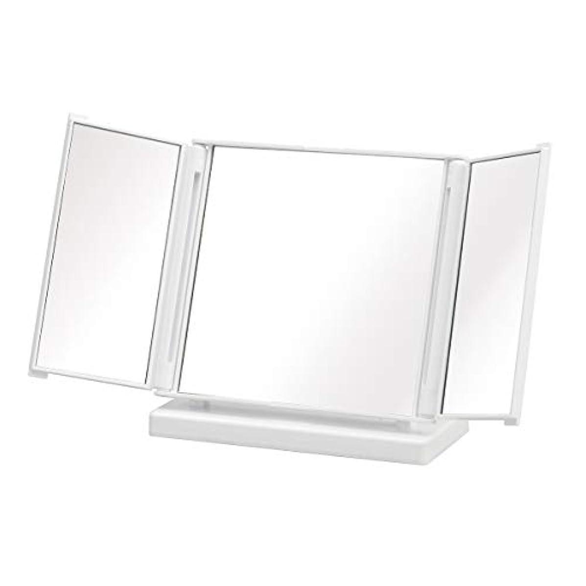 多年生コンパス踊り子三面鏡 ミラー 鏡 三面 かがみ メイク コンパクト ミニ ホワイト