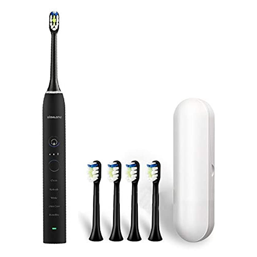 流星大統領ゴミYPZHEN Ximalong 15クリーニングモードIPX7防水USB充電器ソニック電動歯ブラシ (色 : Black)