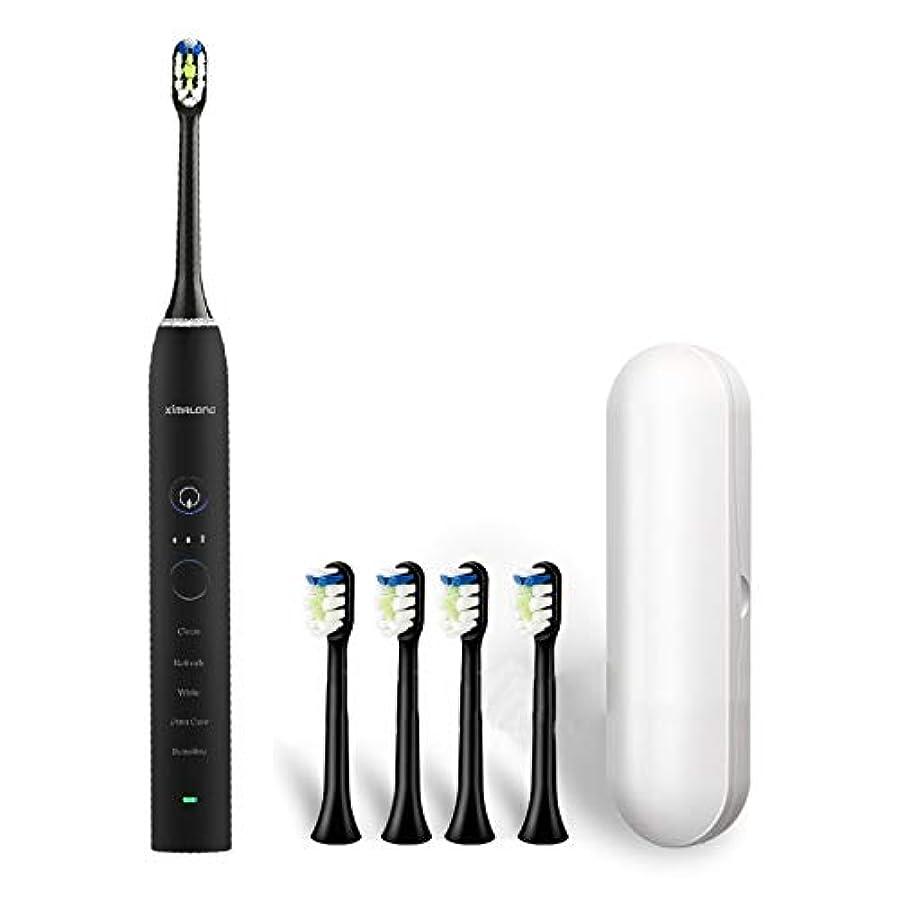 嫌がるコイン安価なYPZHEN Ximalong 15クリーニングモードIPX7防水USB充電器ソニック電動歯ブラシ (色 : Black)