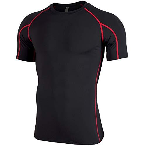 Gretop 半袖 メンズ ラウンドネック スポーツシャツ 肌着 Tシャツ 半袖 スポーツウェア 加圧インナー ダイエット コンプレッションウェア [UVカット・吸汗速乾]