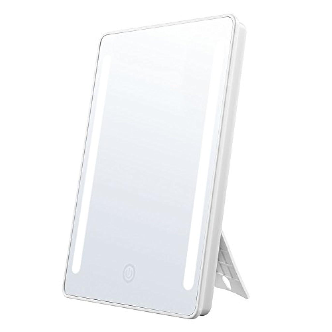 Jerrybox 鏡 化粧鏡 卓上鏡 大型 led 鏡 フルフレームLEDライト スタンドミラー 拡大鏡付き