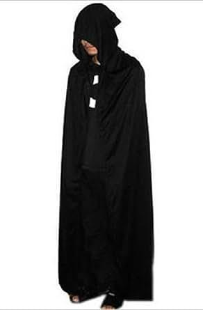 フード付きロングマント コスチューム ブラック 男女共用 肩下約135cm