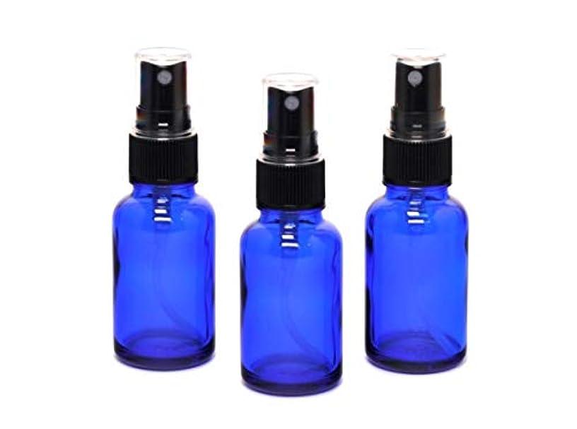 消える借りる三番遮光瓶 蓄圧式ミストのスプレーボトル 30ml コバルトブルー / ( 硝子製?アトマイザー )ブラックヘッド × 3本セット / アロマスプレー用