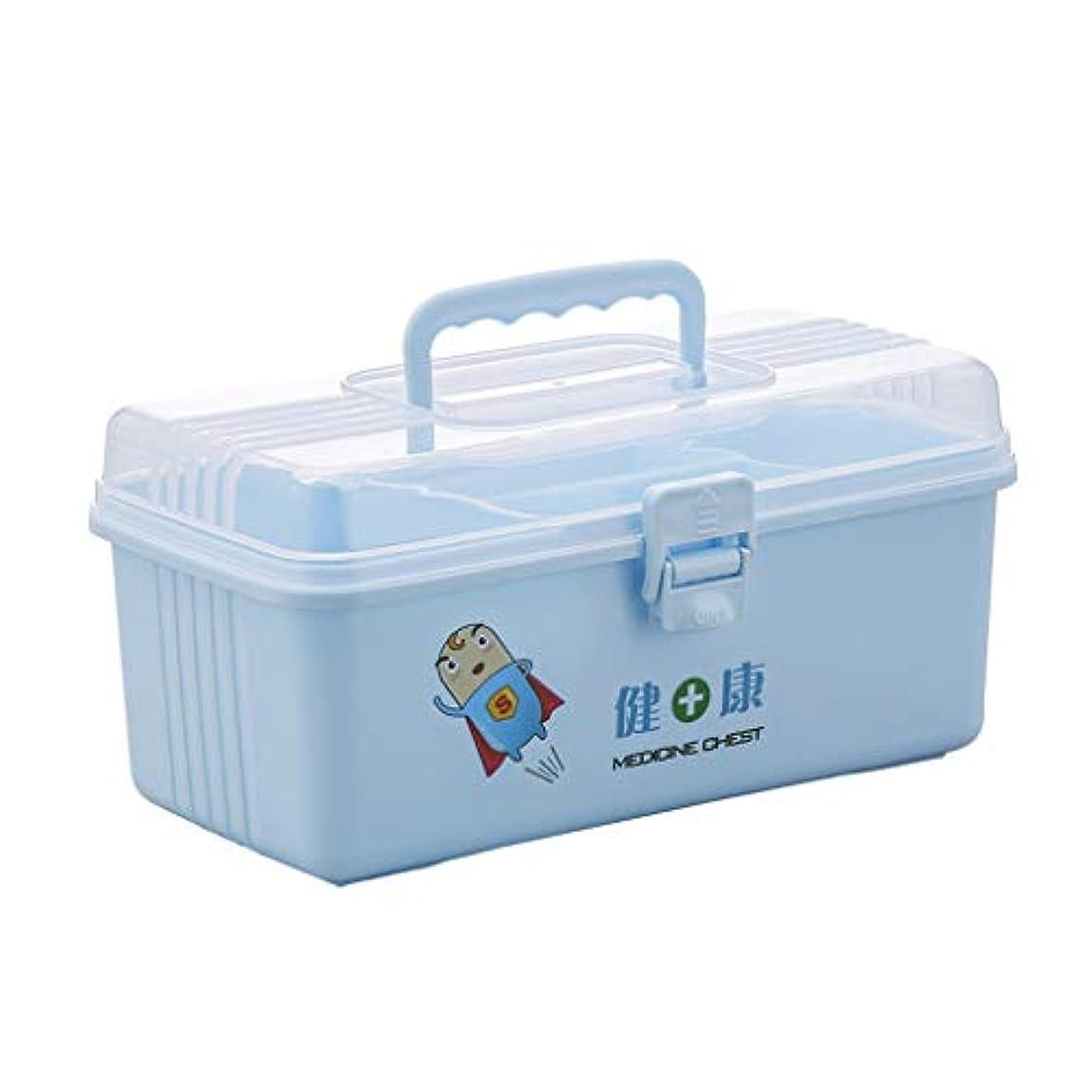たくさんのがんばり続ける降伏Yxsd 応急処置キット プラスチック医学箱家族の緊急のキット、医学の化粧品のためのハンドルが付いている貯蔵のオルガナイザー箱 (Color : Blue)