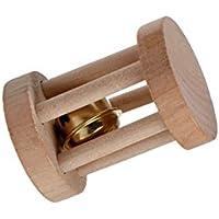 ボールRattle木製Chewingおもちゃでドラム形状with Bellのウサギモルモットハムスター小動物ナチュラルライト色Lサイズ7.1 X 5 cm S ベージュ sz-3ceh-v2im