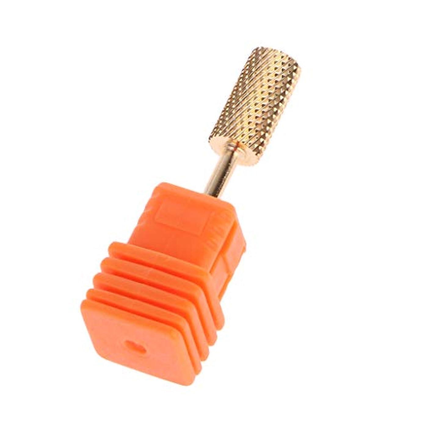 採用織る敵意ジャッキー金属合金ラウンドヘッドネイルグラインディングヘッド-ゴールドMミディアムミディアムミディアムツースカーバイドネイルドリルビットゴールドコーティングネイルアクリルゲル除去サロンツール