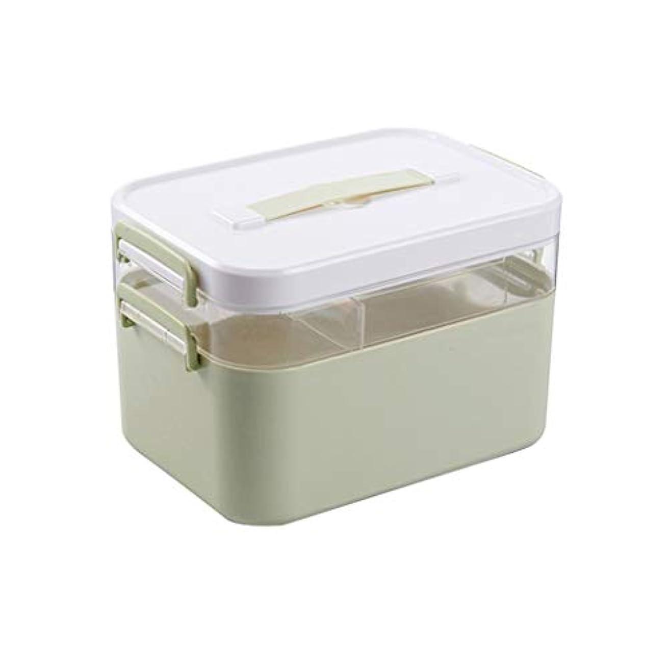 XKJPShop 救急箱 薬箱収納ボックス、職場応急処置キット、ファミリープラスチック応急処置収納ボックス 応急処置ケース、家庭、職場、学校 (Color : Double layer, Size : S)