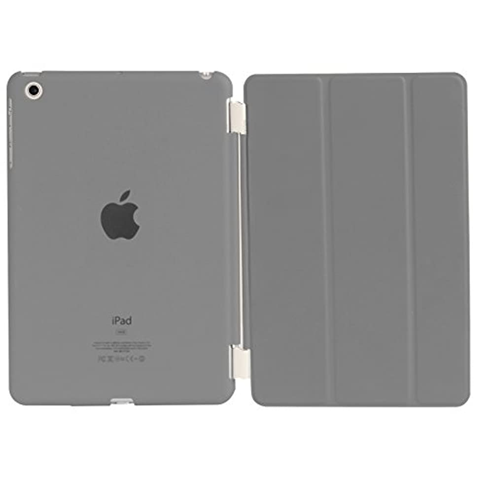 ステートメント口量でiPad Mini iPad Mini Retina 超薄型 スタンド仕様 マグネット スマート式 レザー ケース カバー と半透明プラスティック製 バックケース 液晶保護フィルム付き グレイ