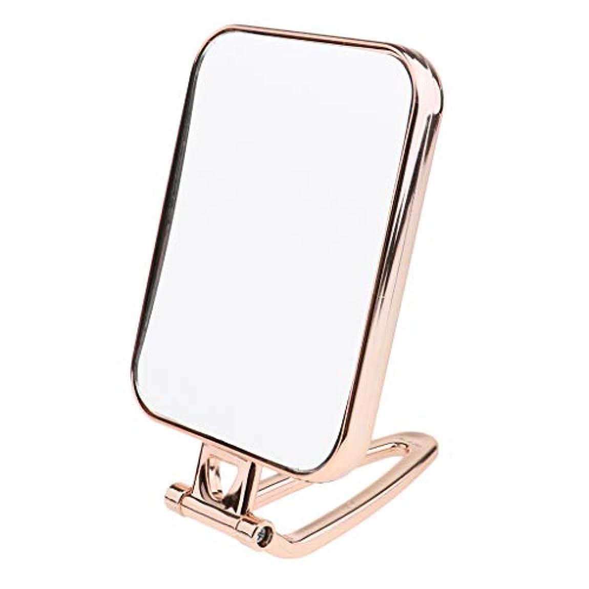 リスナーセマフォ民族主義B Blesiya 全3色 スクエア 両面鏡 両面ミラー テーブルミラー 化粧鏡 卓上化粧用品 - ゴールド