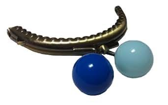 がま口 口金 金具 8.5cm ビー玉サイズのゲンコ ブルー × 水色