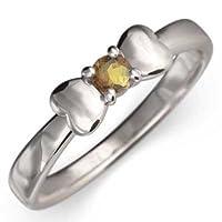 (黄水晶)シトリン 白金(プラチナ)900 指輪 リボン デザイン 一粒 レディース RingSize 7.5