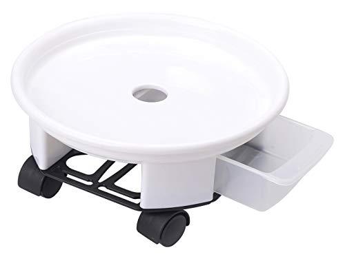 Garay 植木鉢台 鉢受プレート 21cm プランター鉢 鉢置き 受け皿付き 360°回転のキャスター 移動便利 ホワイト 1号