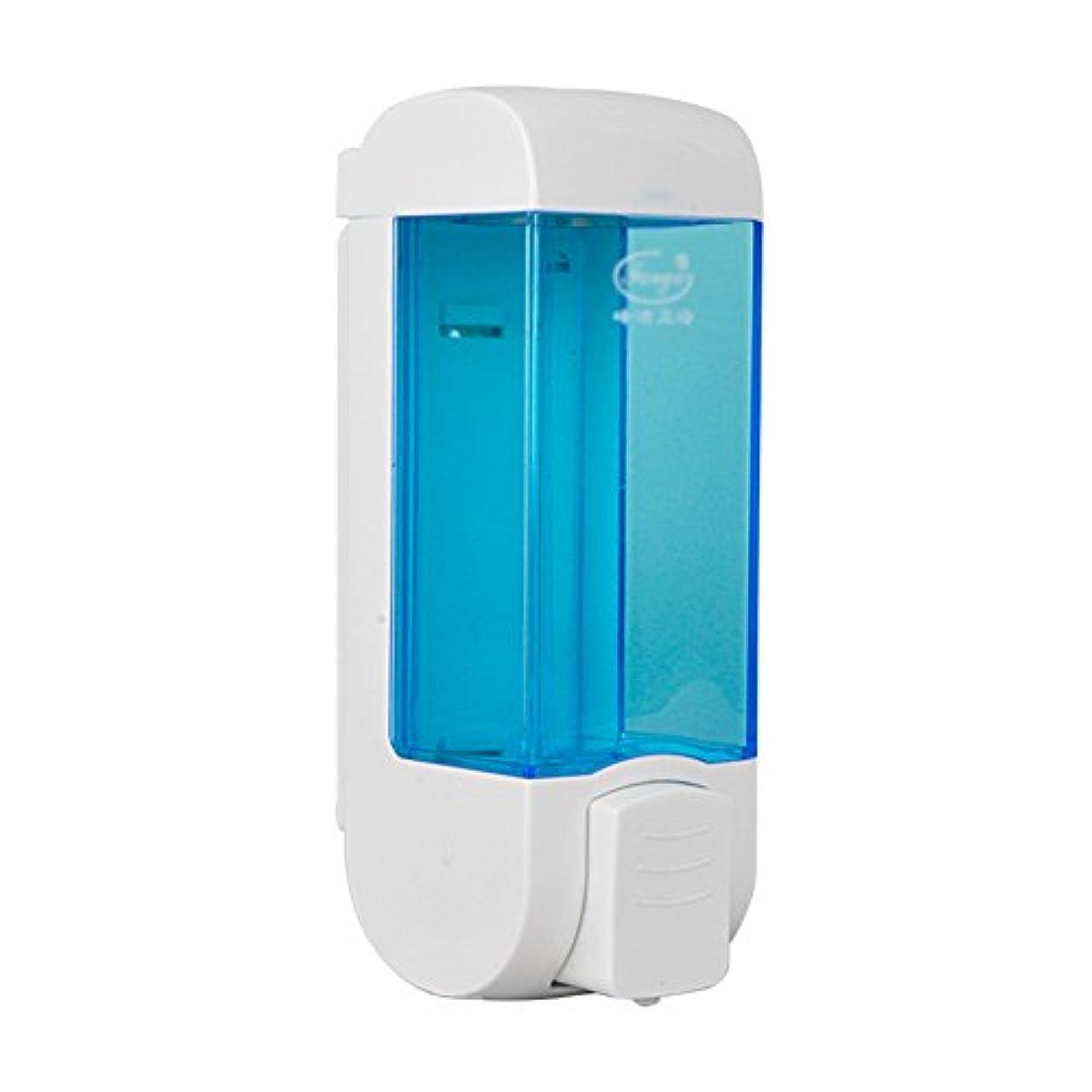 誤破裂潮ZEMIN ソープディスペンサー 壁掛け式 石鹸ディスペンサー 帰納的 マニュアル ポンプ 2頭 シャンプー 液体 石鹸 クリーン、 プラスチック、 青、 300ML (色 : 1)