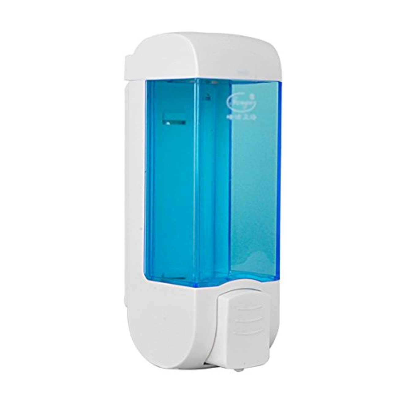 寄託乱すアニメーションZEMIN ソープディスペンサー 壁掛け式 石鹸ディスペンサー 帰納的 マニュアル ポンプ 2頭 シャンプー 液体 石鹸 クリーン、 プラスチック、 青、 300ML (色 : 1)