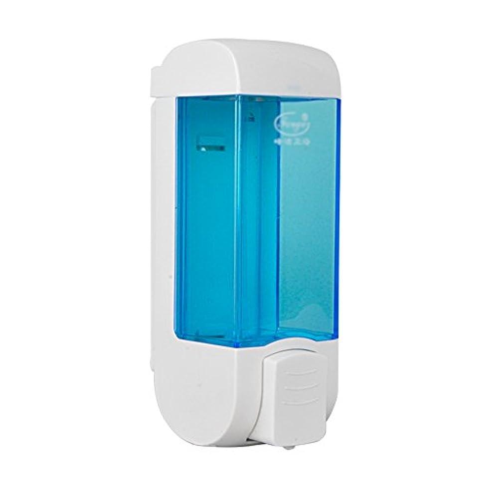 作成者自殺ロックZEMIN ソープディスペンサー 壁掛け式 石鹸ディスペンサー 帰納的 マニュアル ポンプ 2頭 シャンプー 液体 石鹸 クリーン、 プラスチック、 青、 300ML (色 : 1)