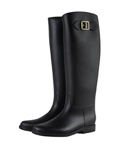 ロング レインブーツ 長靴 黒 茶 スタイリッシュ シンプル レディース 雨靴 オールシーズン ブラック L