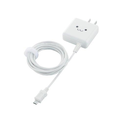 ELECOM スマートフォン用 【急速充電】 AC充電器 ケーブル一体型 1000mA 2.5m  ホワイト MPA-ACMA2510WH