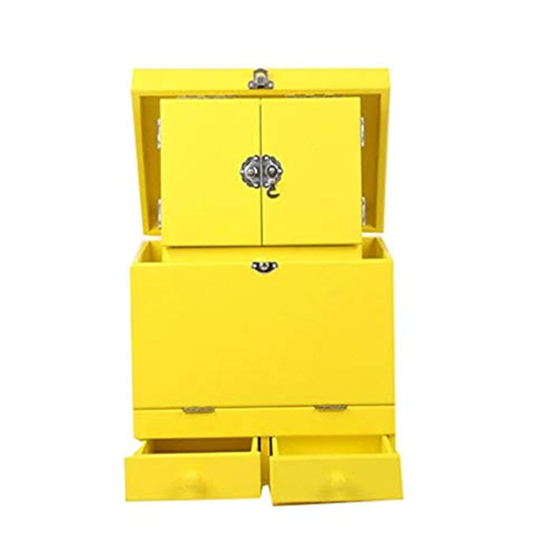 化粧箱、黄色のダブルデッカーヴィンテージ木製彫刻が施された化粧ケース、ミラー、高級ウェディングギフト、新築祝いギフト、美容ネイルジュエリー収納ボックス