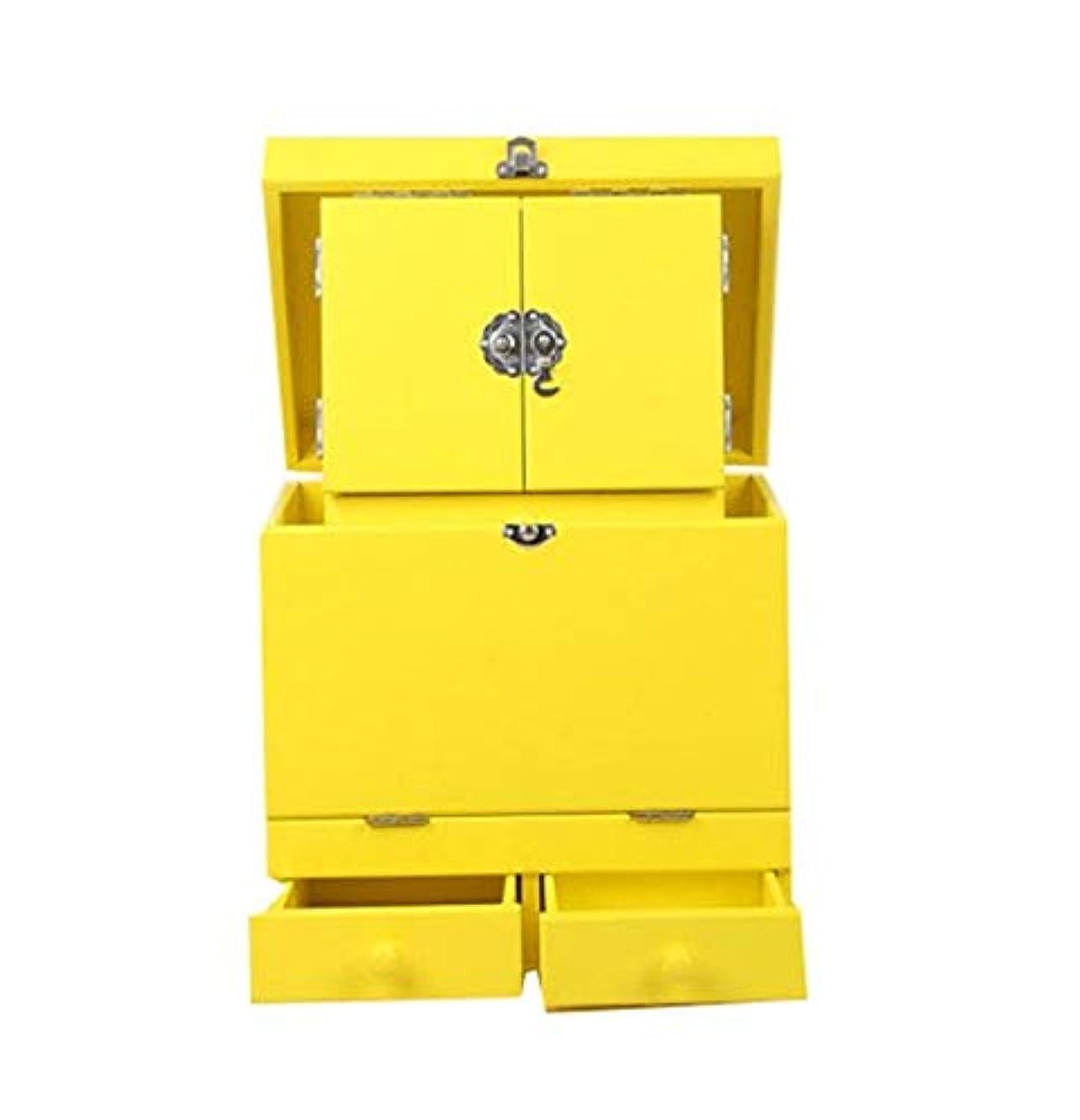 煙突純粋な舌な化粧箱、黄色のダブルデッカーヴィンテージ木製彫刻が施された化粧ケース、ミラー、高級ウェディングギフト、新築祝いギフト、美容ネイルジュエリー収納ボックス