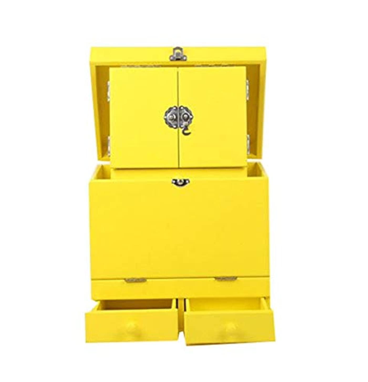 頼む遠い推進化粧箱、黄色のダブルデッカーヴィンテージ木製彫刻が施された化粧ケース、ミラー、高級ウェディングギフト、新築祝いギフト、美容ネイルジュエリー収納ボックス