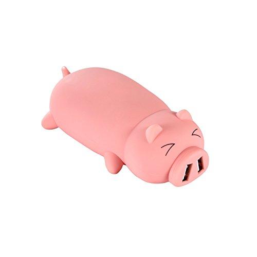 大容量モバイルバッテリ10000mahスマート可愛い急速充電移動電源双USB出力ポート持久耐久コンパクトで持ち運び便利携帯創意性がよい萌え豚アニメモバイル電源(ピンク萌え豚)