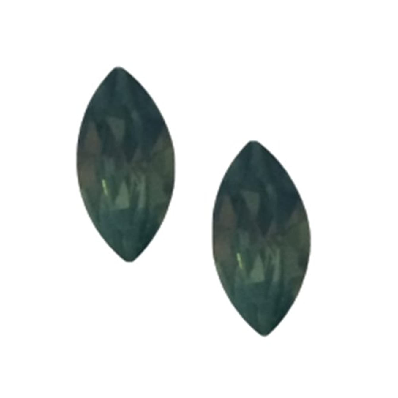 ミス流行している維持POSH ART ネイルパーツ馬眼型 3*6mm 10P グリーンオパール