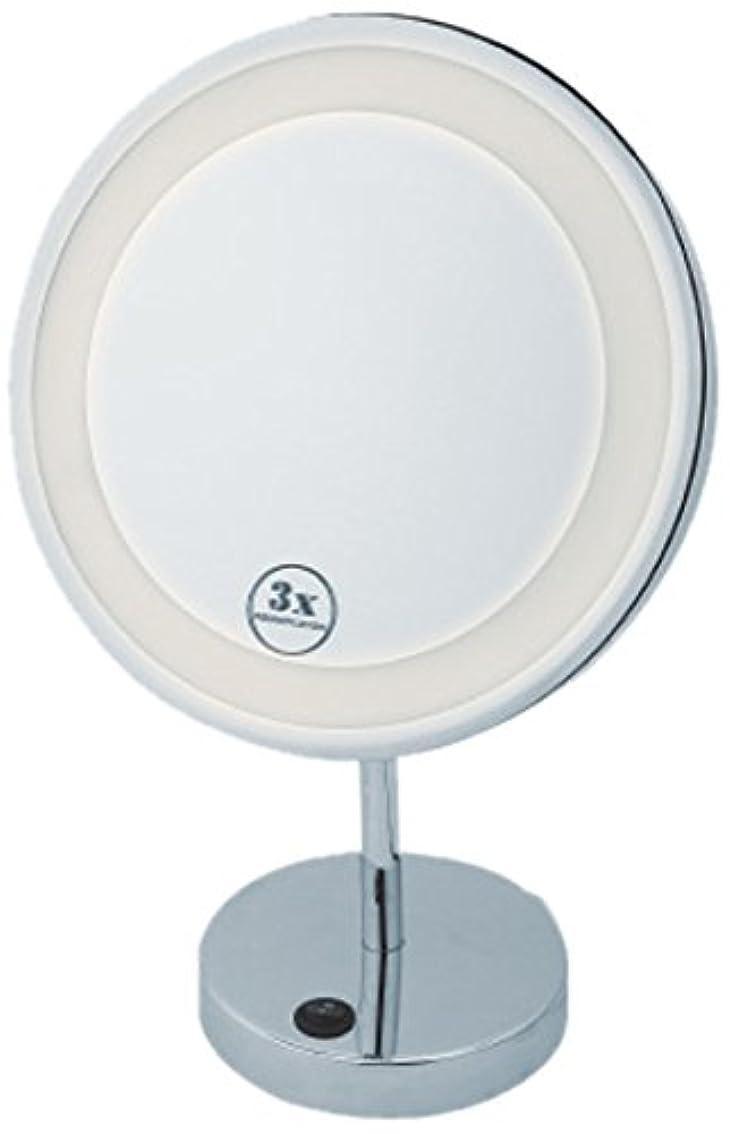 朝ごはんビル合法LEDミラー (卓上ミラー)丸型大 コード式 全2色 (拡大鏡  アイメイク スタンド)イエロー