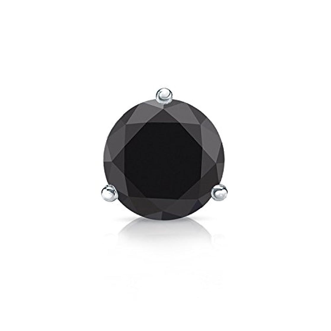 みぞれリングレット解体する14 Kゴールド3-prong Martiniラウンドブラックダイヤモンドメンズシングルスタッドイヤリング( 1 / 4 – 2 ct、ブラック) SLB