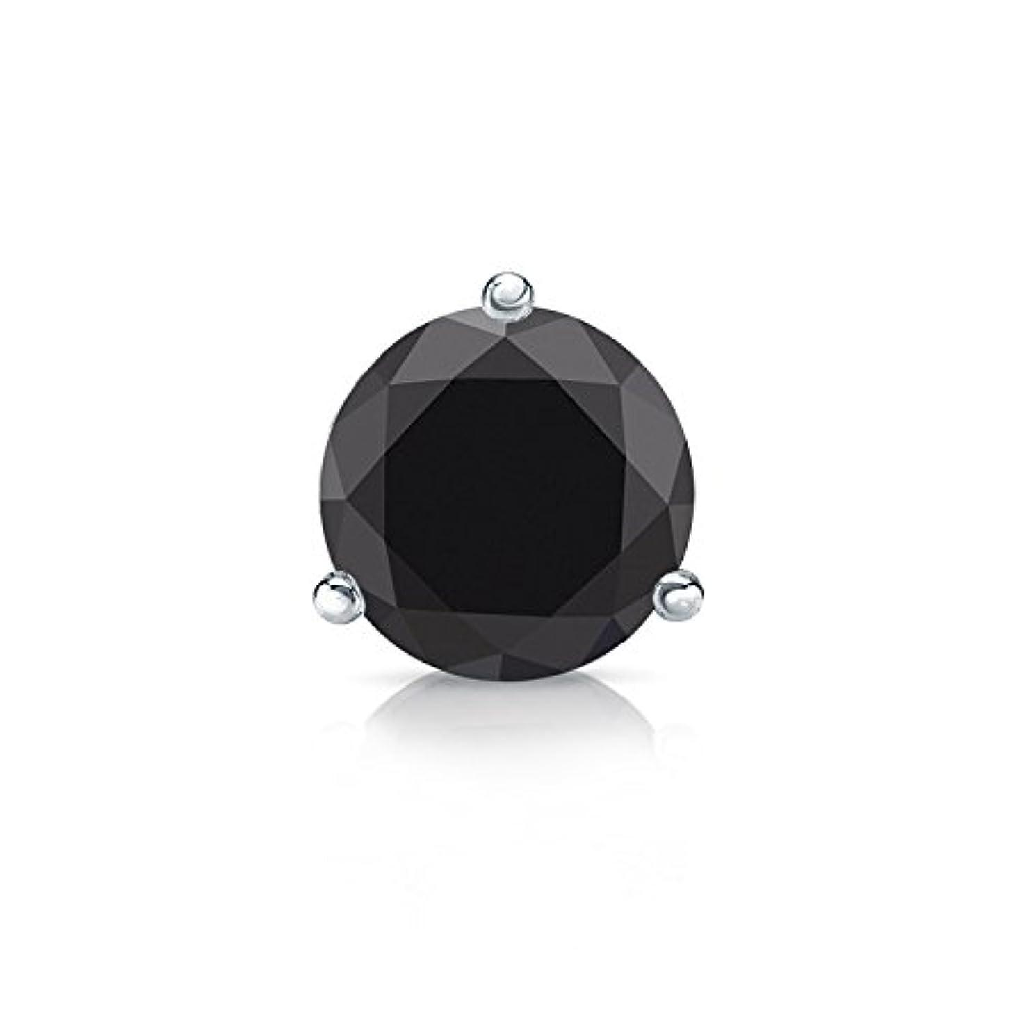 貸し手離婚者14 Kゴールド3-prong Martiniラウンドブラックダイヤモンドメンズシングルスタッドイヤリング( 1 / 4 – 2 ct、ブラック) SLB
