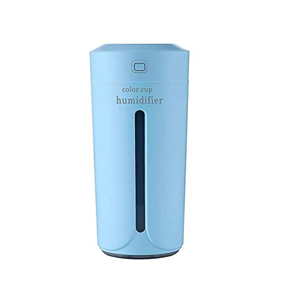 アグネスグレイ基準ペイントSOTCE アロマディフューザー加湿器超音波霧化技術満足のいく解決策美しい装飾卓上ソフト変色 (Color : Blue)