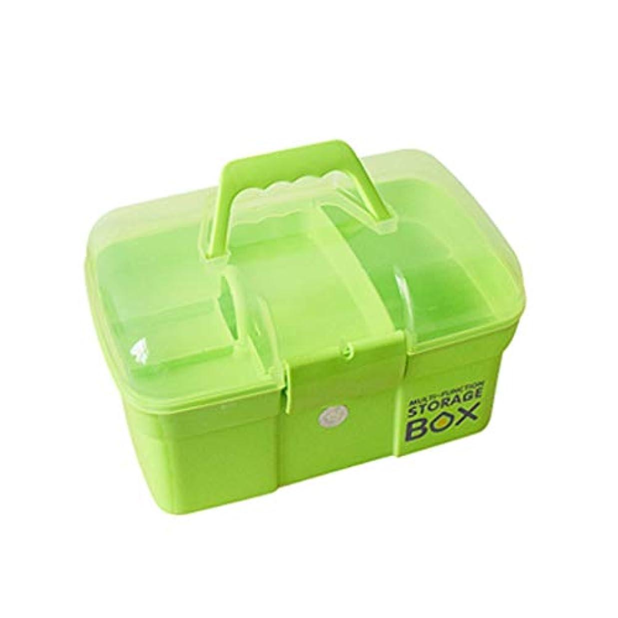 タップ層アマチュアZWYHSD 救急セット 医療用ボックス収納、二重層収納ボックス救急箱、大型雑貨ボックス ホーム、旅行、職場 (Color : Green, Size : L)