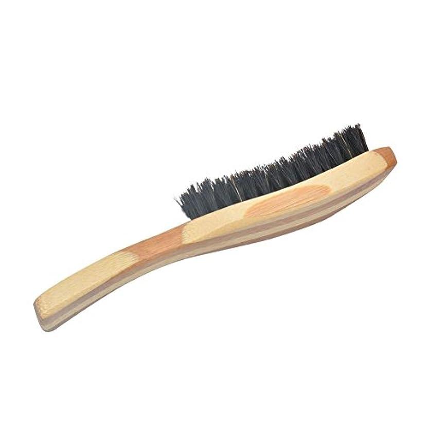 安らぎ机腹部junexi ひげケア ビアードケア ひげブラシ メンズひげケア必需品 髭を整える 竹製ハンドル 天然豚毛 櫛形ブラシ チンをマッサージ