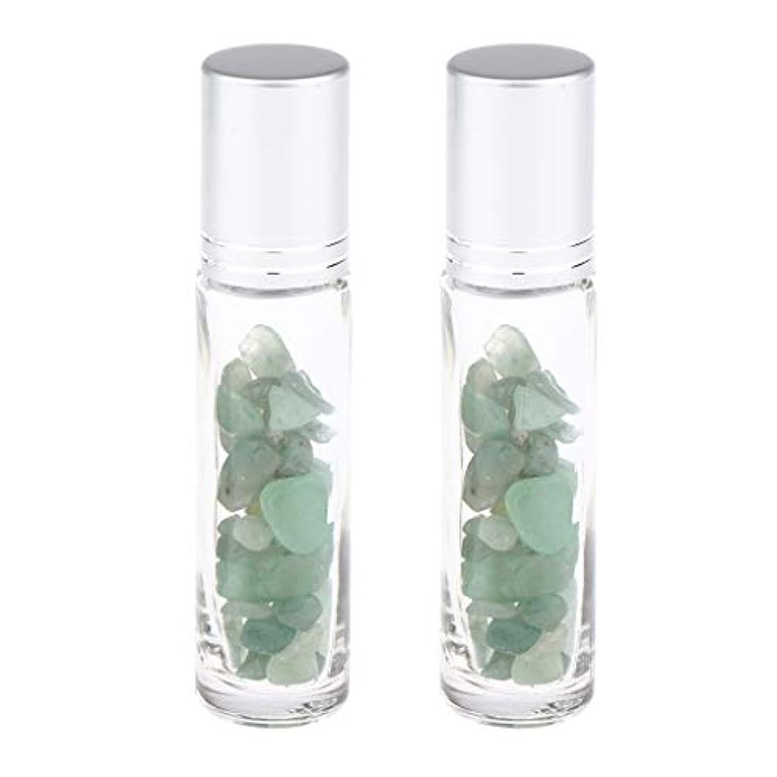スプーン空虚メジャー10ml ガラスボトル 香水ボトル 精油瓶 アトマイザー 詰替え ロールオンボトル 天然石 2個 - グリーンアベンチュリン