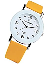 ROOFTOPS ファッションシンプルな白レザー時計の腕時計の女性のドレスカジュアルなアナログクォーツ腕時計 (イエロー)