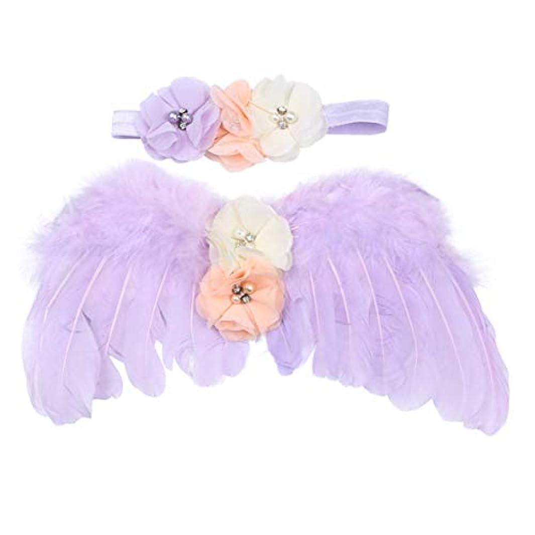 申し込む画面岸NUOBESTY 生まれたばかりの赤ちゃんの写真の小道具羽天使の翼と花のヘッドバンドセット赤ちゃん髪アクセサリー写真小道具衣装(紫)
