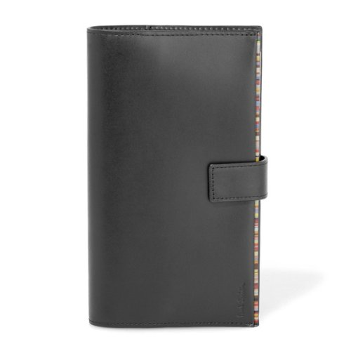 (ポールスミス) Paul Smith ノートブック リングノート 手帳カバー ストライプポイント 6穴 手帳 ブラック [並行輸入品]