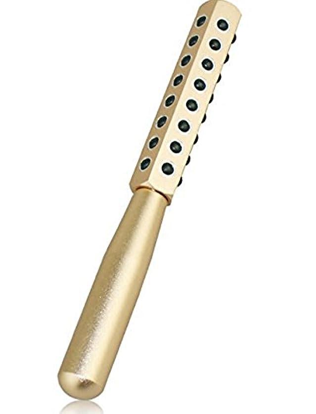 に若い一次CREPUSCOLO ゲルマローラー 美顔器 美肌 ハリ ツヤ ほうれい線 純度99% ゲルマニウム粒子40粒/額 ほほ 目じり あご~首すじ デコルテ 二の腕 手の甲 気になるところをコロコロ ゴールド シルバー (ゴールド)