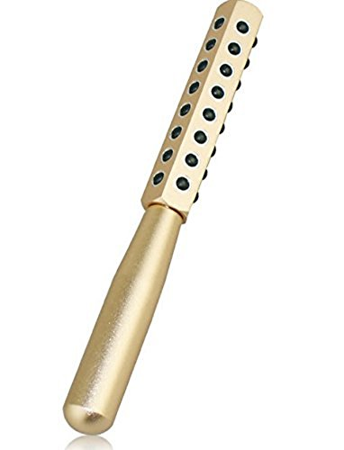 CREPUSCOLO ゲルマローラー 美顔器 美肌 ハリ ツヤ ほうれい線 純度99% ゲルマニウム粒子40粒/額 ほほ 目じり あご~首すじ デコルテ 二の腕 手の甲 気になるところをコロコロ ゴールド シルバー (ゴールド)