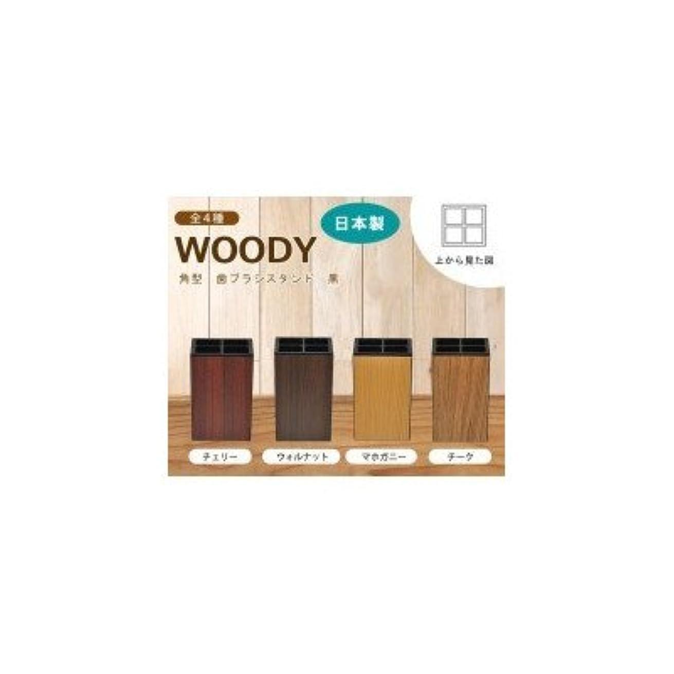 一口交じるキャラバン日本製 WOODY ウッディ 角型 歯ブラシスタンド 黒 チーク・13-450369( 画像はイメージ画像です お届けの商品はチーク・13-450369のみとなります)