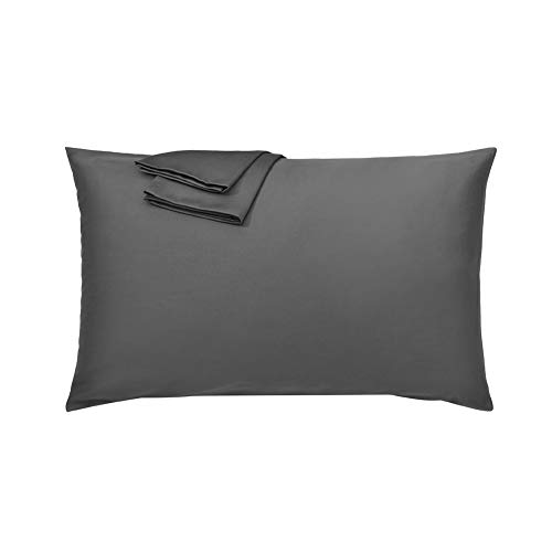 YEATION 枕カバー 棉100% ピローケース ホテル品質 300本高密度 防ダニ 抗菌 防臭 丸洗い可能 四季通用 43x63cm グレー