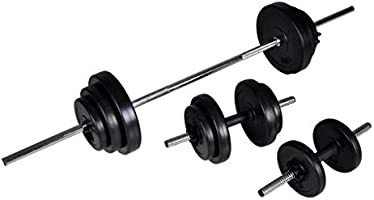 vidaXL Dumbbell Barbell Weight Set 3 pcs 30.5kg Adjustable Home Gym Exercise